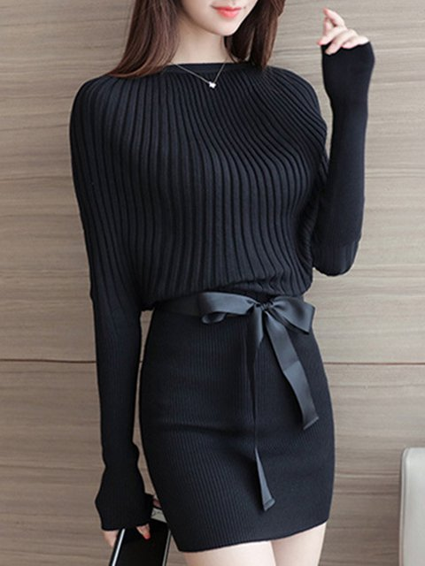 Sheath Women Daytime Long Sleeve Elegant Knitted Plain Elegant Dress