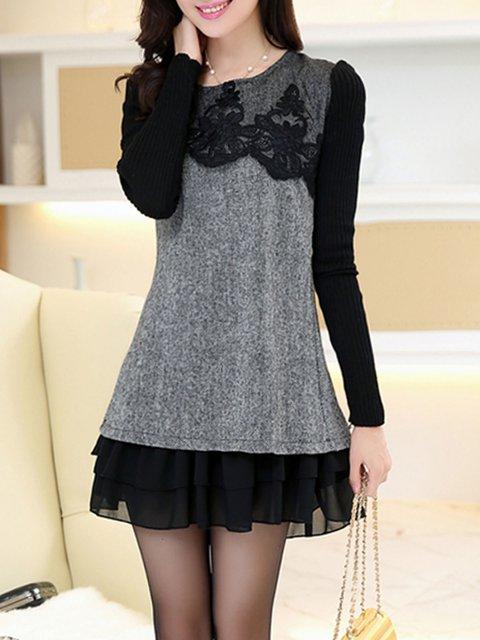 Gray Women Casual Long Sleeve Paneled  Casual Dress