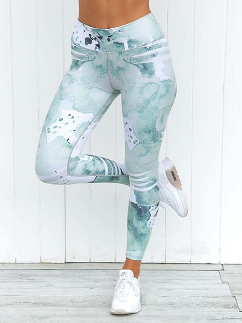Green Abstract Printed Sports Leggings