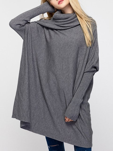 Knitted Cowl Neck Asymmetrical Batwing Sweater