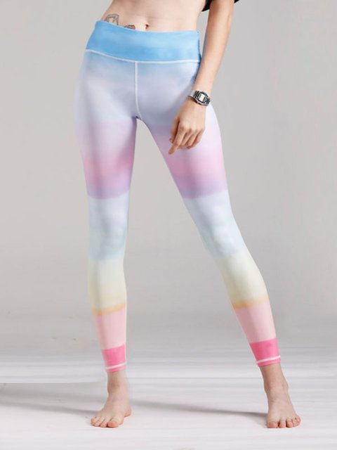 Multicolored Tie-Dye Sports Sheath Printed Leggings