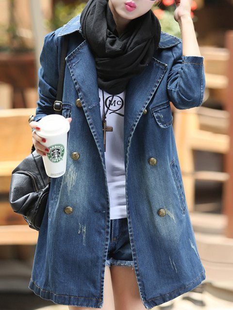 Washed Denim Pockets Long Sleeve Shawl Collar  Pea Coat