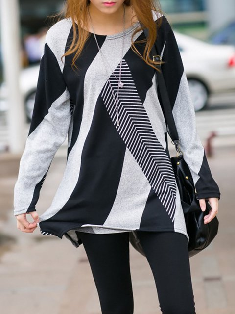 Color-block Casual Crew Neck Long Sleeve T-Shirt