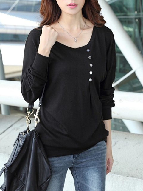 Crew Neck Casual Plain Buttoned Long Sleeve T-Shirt