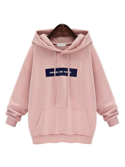 Pink Pockets Long Sleeve Letter  Hoodie