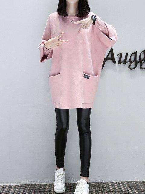 Casual Paneled Plain Sleeve Dress Women Cotton Long qaZnX1