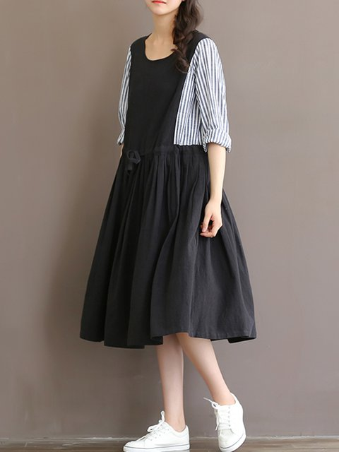 Casual Paneled A Striped Women Casual Daytime line Black Long Sleeve Dress wxPqHfdYF