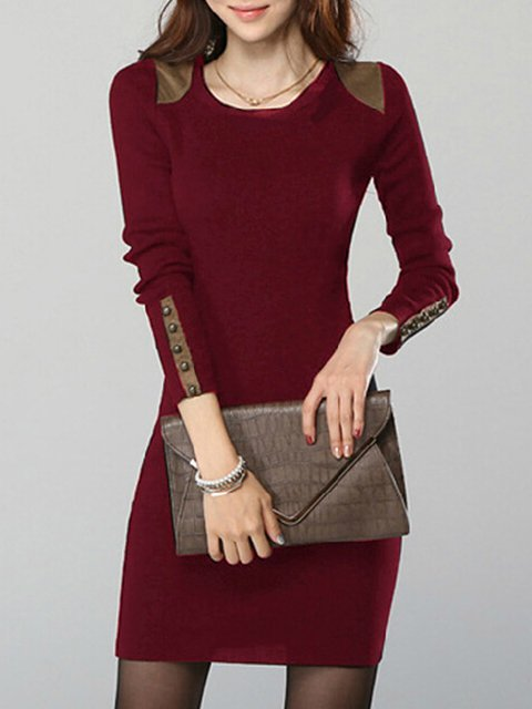 Sheath Women Daily Faux suede Long Sleeve Solid Elegant Dress