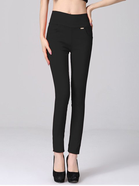 Pockets Solid Casual Leggings