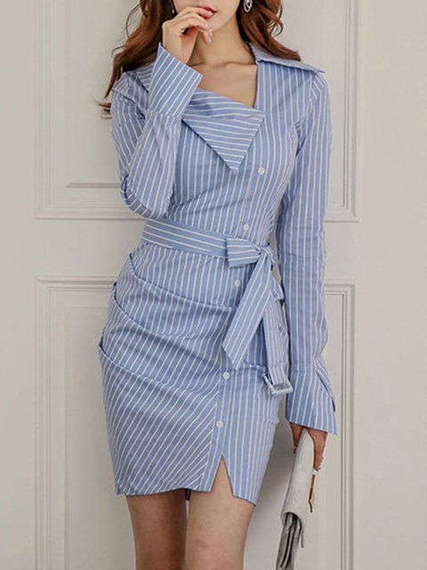 Blue Women Work Sexy Bell Sleeve Bow Striped Elegant Dress