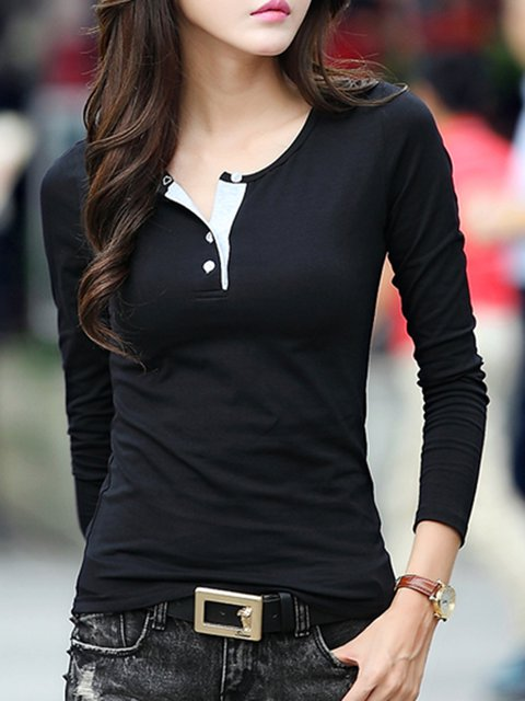 Long Sleeve Buttoned Casual T-Shirt