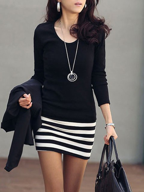 Black Sheath Women Daily Long Sleeve Casual Cotton Paneled Striped Elegant Dress