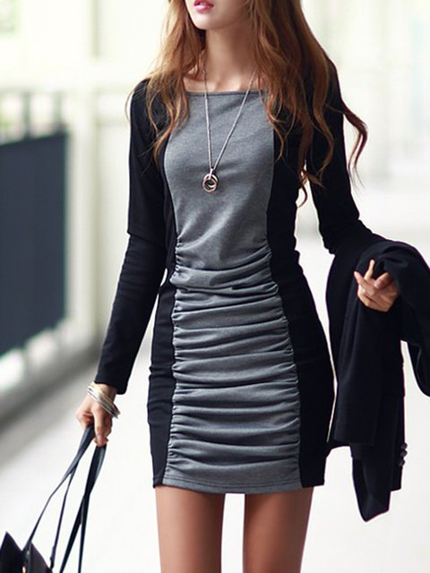 Gray Sheath Women Daily Long Sleeve Cotton Paneled Solid Elegant Dress