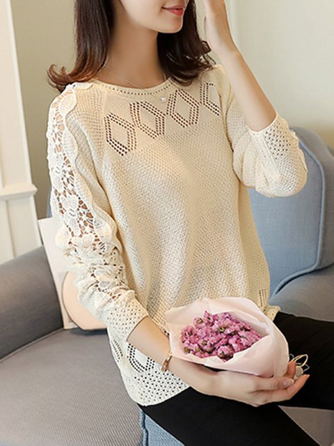 Crocheted Eyelet Crew Neck Knitted Long Sleeve Sweater