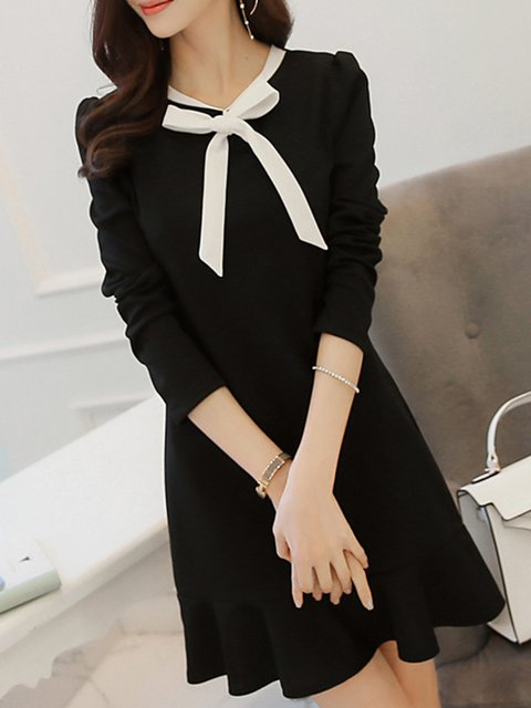 Tie-neck Black Flounce Women Daily Long Sleeve Elegant Cotton  Plain Elegant Dress