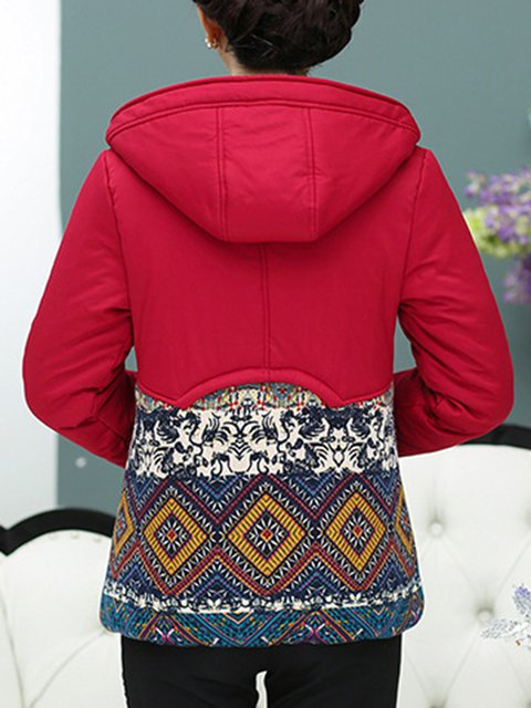 Printed Winter Geometric Size Coat Buttoned Shift Red Plus qxRwzAWZ