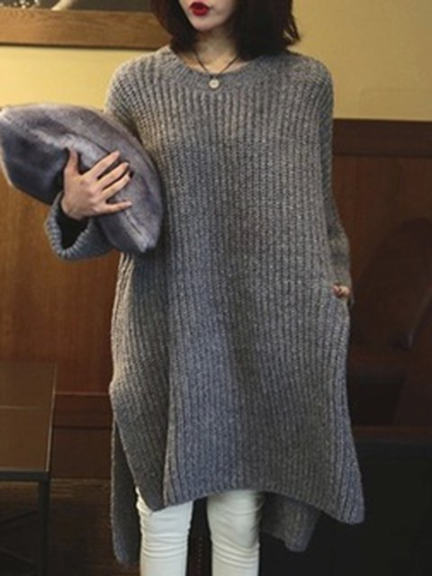 Gray High Low Women Daily Long Sleeve Knitted Casual Slit Casual Dress