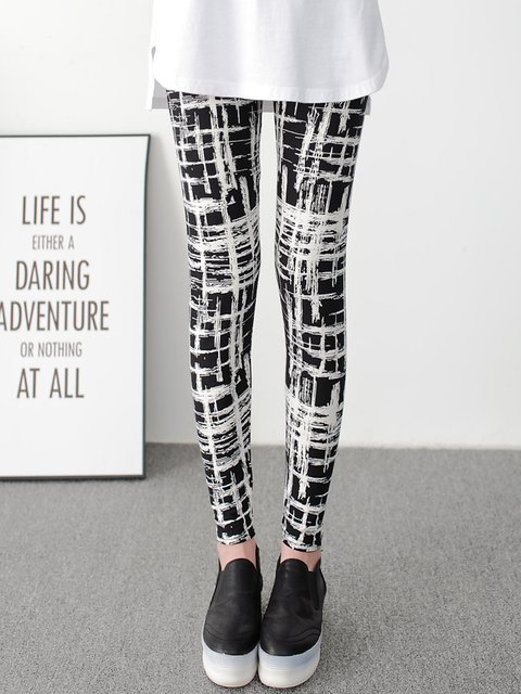Black Printed Casual Leggings