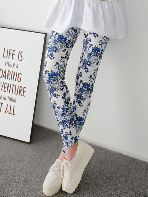 White Casual Peony Printed Floral Leggings