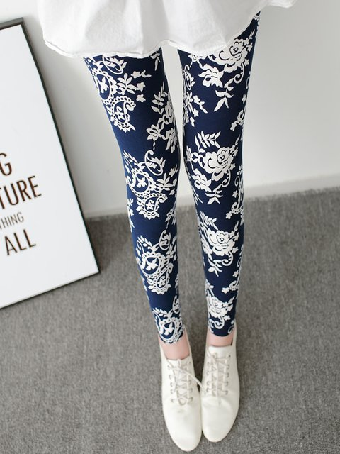 Royal Blue Printed Casual  Floral Leggings