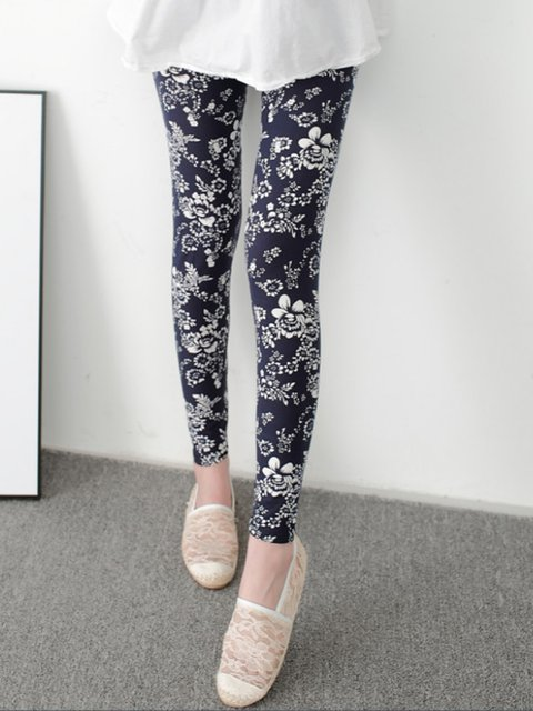 Navy Blue Printed Casual Floral Leggings