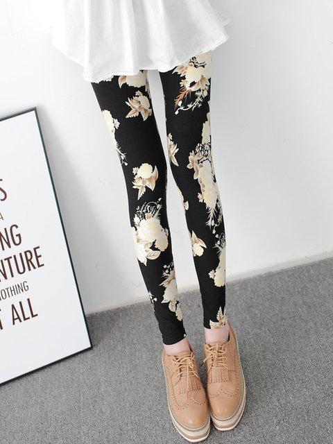 Black Floral Printed Casual Leggings