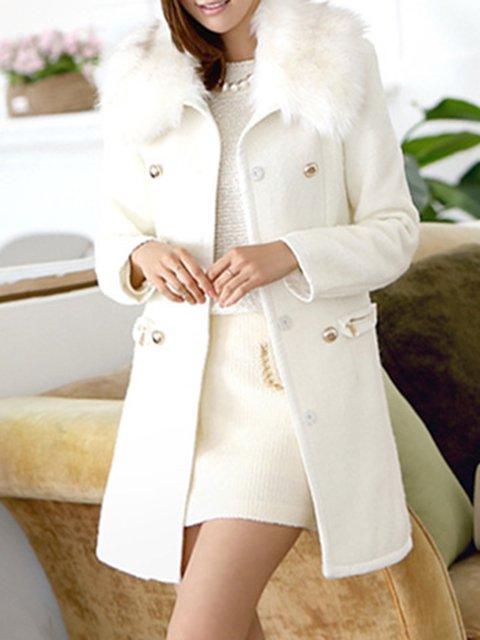 White Buttoned A-line Wool blend Faux fur Pockets Winter Women Peacoat