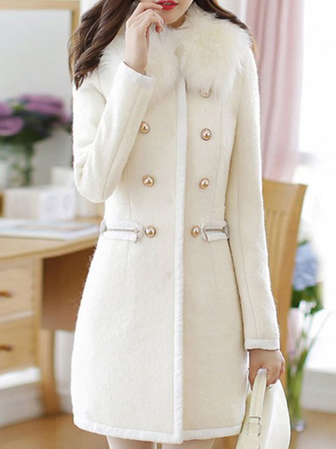 ea5f61cbfc1 White Buttoned A-line Wool blend Faux fur Pockets Winter Women Peacoat