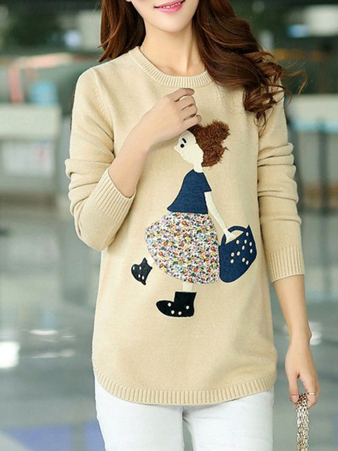 Cute Knitted H-line Long Sleeve  Sweater