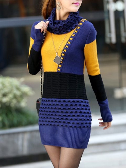 Cowl Neck  Bodycon Women Daily Casual Knitted Paneled Casual Dress