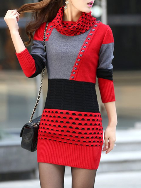 Cowl Neck  Bodycon Women Knitted Long Sleeve Casual  Casual Dress