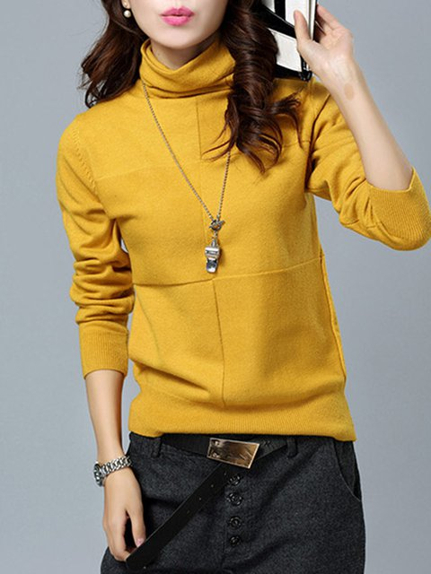Knitted Cowl Neck Long Sleeve Plain Sweater