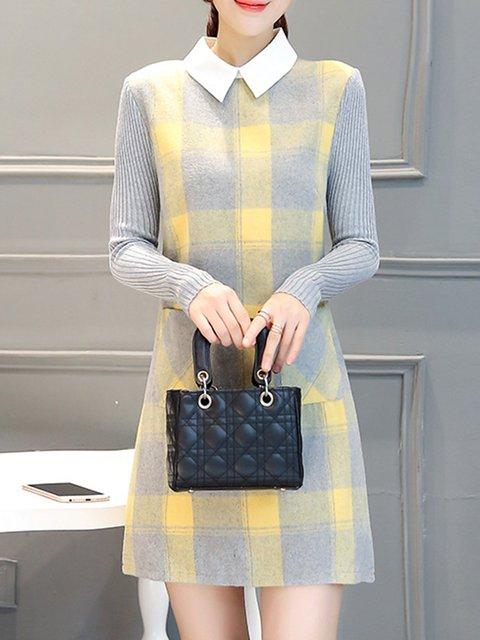 Shirt Collar Yellow Sheath Women Daily Wool blend Long Sleeve Paneled Gingham Elegant Dress