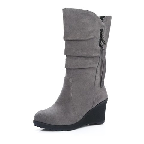 Wedge Heel Mid-Calf Suede Women Boots