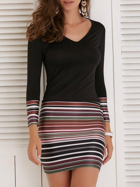 V neck Black Bodycon Women Daytime Casual Long Sleeve Paneled Striped Summer Dress