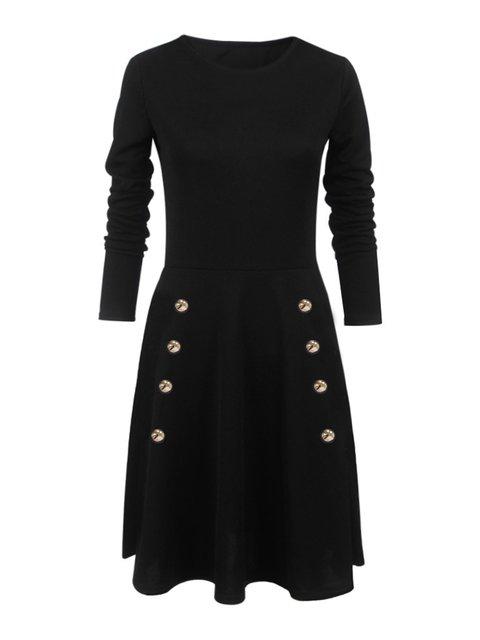 Women Cotton Long Sleeve Casual Solid Elegant Dress