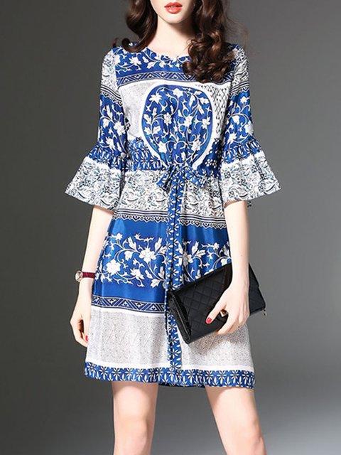 Blue A-line Women Bell Sleeve Vintage Printed Floral Elegant Dress