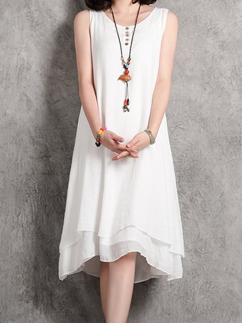 White Asymmetrical Women Daytime Linen Sleeveless Casual Tiered  Casual Dress