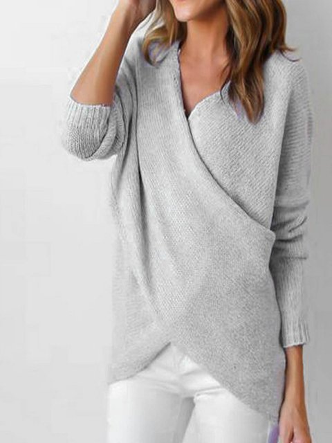 Gray Sweater Casual H Neck Knitted Surplice line dYIxYrw0zq