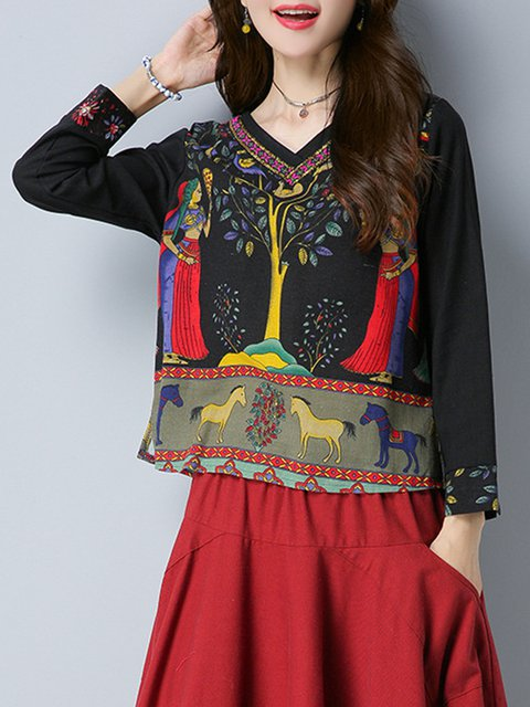 Multicolored Casual H-line Leaf Print V Neck Blouse