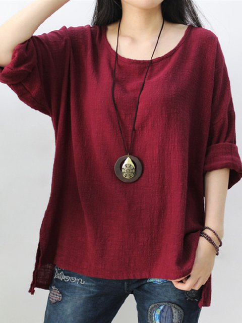 Cotton High Low Casual Crew Neck Plus Size Solid T-Shirt