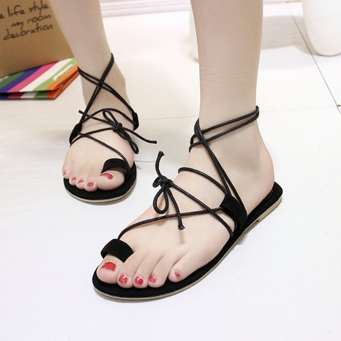 Black Women's Lace-Up Suede Sandals