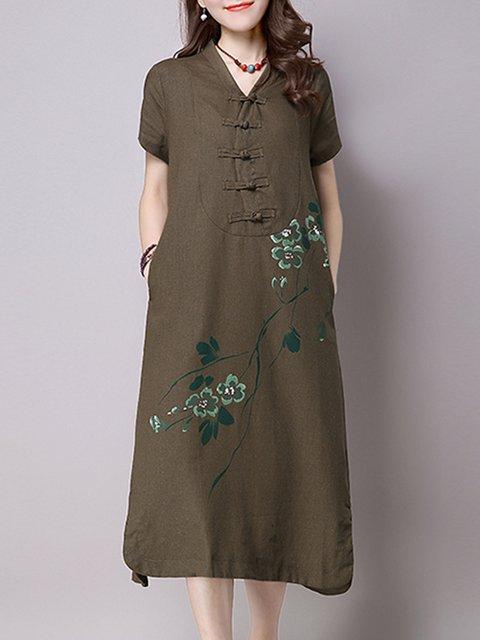 V neck Green  Women Daily Casual Short Sleeve Elegant Dress