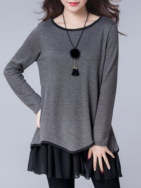Shift Women Daily Long Sleeve Casual Cotton Paneled Solid Casual Dress