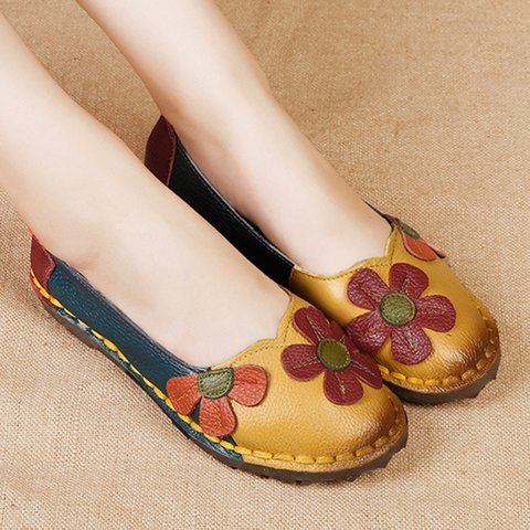 Flowers Round Toe Women Slip-On Flats