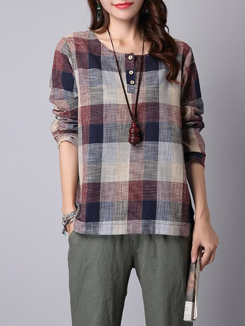 Crew Neck Long Sleeve Checkered/Plaid Blouse