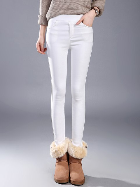 Solid Pockets Casual  Skinny Leg Pants