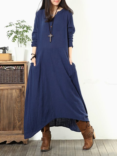 V neck  Asymmetrical Women Daily Casual Long Sleeve Buttoned Solid Casual Dress