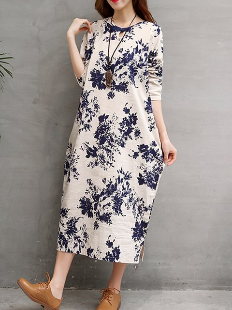 Keyhole Apricot Cocoon Women Daily Vintage Linen Buttoned Floral Casual Dress