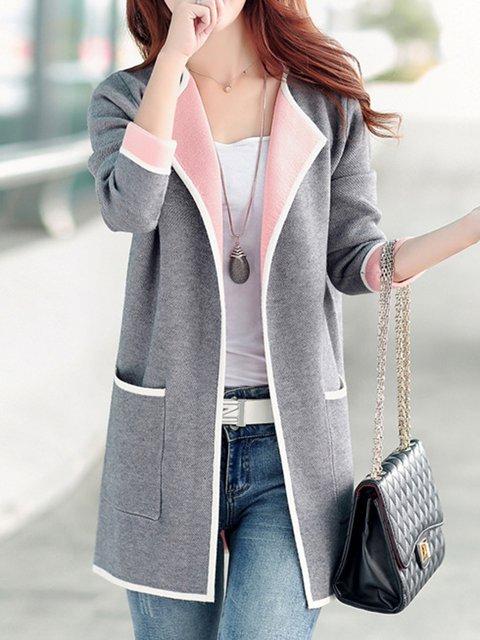 Shawl Collar Long Sleeve Pockets Coat